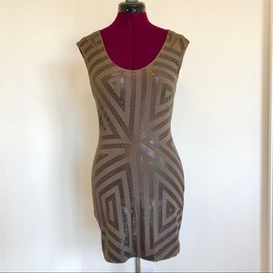 Express Sequin Bodycon Dress w/ Sheer Back